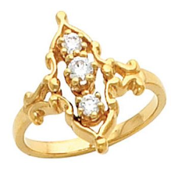 Victorian Style 3.0mm & 2.5mm Round Shaped 3 Stone Ring Setting