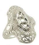 Art Deco Style Sterling Silver Filigree 2.5mm & 2.0mm Round Stone Ring Setting