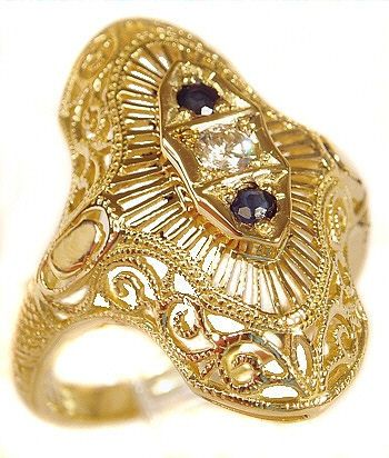 14k Gold Art Deco Style Filigree 2.5mm & 2.0mm Round Stone Ring Setting
