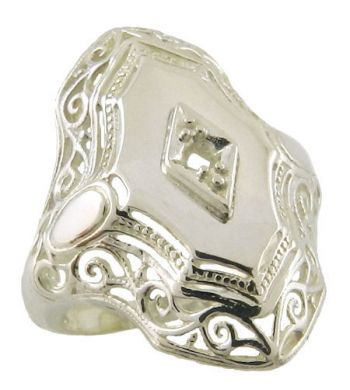 Art Deco Style Filigree 2.5mm Round Stone Ring Setting