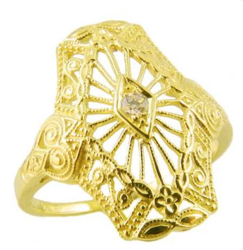 Art Deco Style Filigree 2.0mm Round Stone Ring Setting