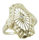 Art Deco Style Sterling Silver Filigree 2.0mm Round Ring Setting