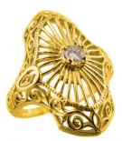 Art Deco Style Filigree 3.0mm Round Stone Ring Setting