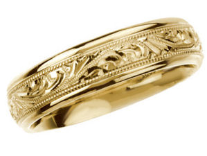 14k Yellow Gold Vintage Style 6.0mm Hand Engraved Wedding Band