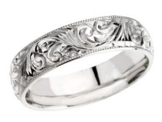 14k White Gold Vintage Style 6.0mm Hand Engraved Wedding Band
