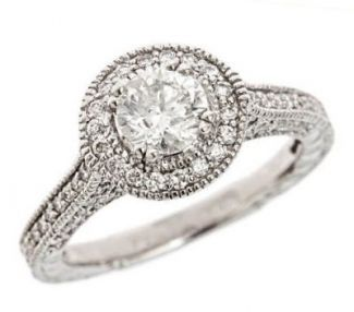 Vintage Style 6.5mm Round Shaped Embossed .50 cttw Diamond Halo Semi Ring Mount