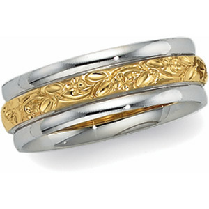 14k Two Tone Vintage Style 6.0mm Floral Wedding Band
