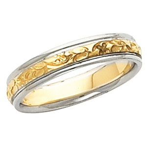 18k / Platinum Two Tone Vintage Style 4.0mm Floral Wedding Band