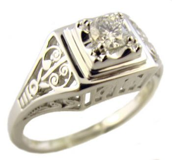 14k White Gold Vintage Style Filigree .17ct Diamond Engagement Ring