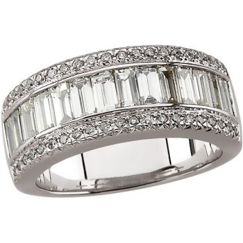 14k White Gold Vintage Style 2.00 cttw Diamond Anniversary Band