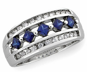 14k White Gold Art Deco Style .63 cttw Sapphire & Diamond Anniversary Band