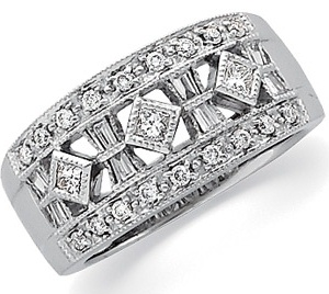 14k Art Deco Style .50 cttw Diamond Anniversary Band