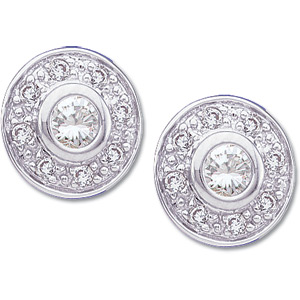 14k White Gold Vintage Style .25cttw Diamond Button Earrings