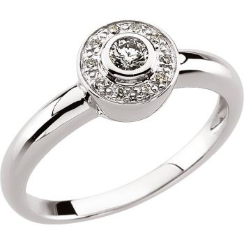 14k White Gold Vintage Style .17cttw Diamond Ring