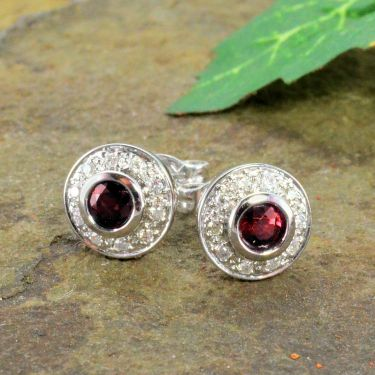 14k White Gold Art Deco Style .50cttw Ruby & Diamond Button Earrings