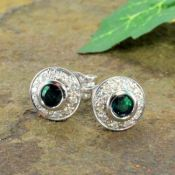 14k White Gold Art Deco Style .45cttw Emerald & Diamond Button Earrings