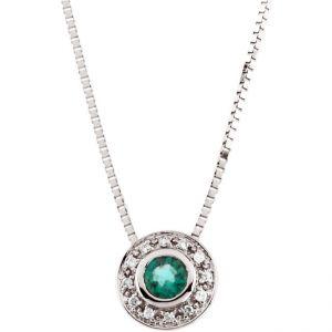 14k White Gold Art Deco Style .06cttw Diamond & Emerald Slide Pendant w/ Chain