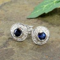 14k White Gold Art Deco Style .60cttw Sapphire & Diamond Button Earrings