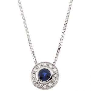14k White Gold Art Deco Style .06cttw Diamond & Sapphire Slide Pendant w/ Chain