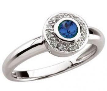 14k White Gold Vintage Style Sapphire and Diamond Ring