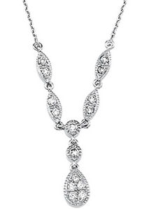 14k White Gold Art Deco Style .25cttw Pave' Diamond Drop Necklace