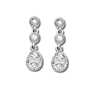 14k White Gold Art Deco Style .12cttw Pave' Diamond Drop Earrings