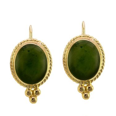 14k Yellow Gold Antique Style Green Jade Cabochon Earrings