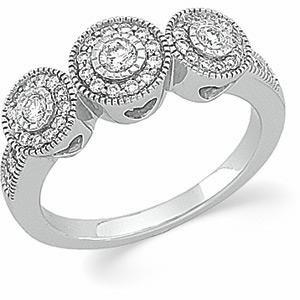 14k White Gold Vintage Style .50 cttw Diamond Anniversary Ring