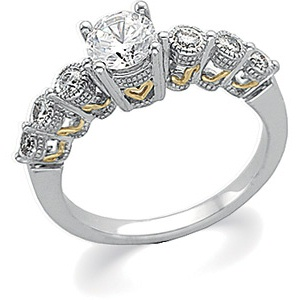 14k Two Tone Gold Vintage Style .75 Carat Semi Mount Engagement Ring w/ .20cttw Diamond Accents