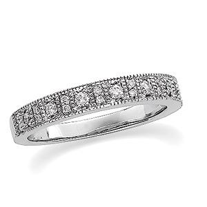 14k White Gold Vintage Style .25 cttw Diamond Wedding Band