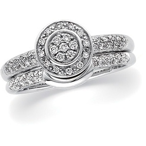 14k White Gold Vintage Style .25cttw Pave' Diamond Engagement Ring & Wedding Band