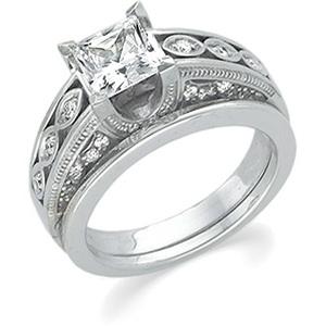 14k White Gold Vintage Style 1.00 Carat Princess Cut Semi Mount Engagement Ring w/ .33 cttw Diamond Accents