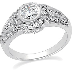 14k White Gold Vintage Style .50 Carat Semi Mount Engagement Ring w/ .37 cttw Diamond Accents