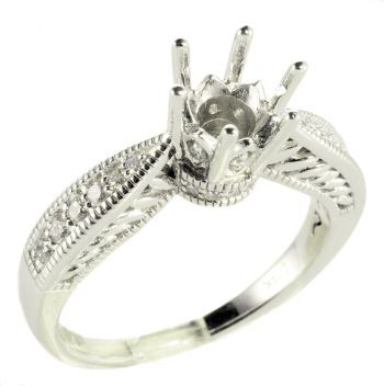14k White Gold Vintage Crown Style .50 Carat Semi Mount Engagement Ring w/ .25 cttw Diamond Accents