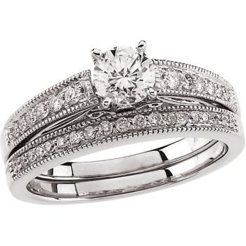 14k White Gold Vintage Style 1.00 Carat Semi Mount Engagement Ring w/ .20 cttw Diamond Accents