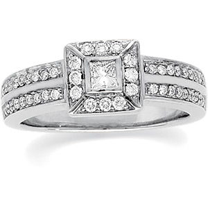 14k White Gold Vintage Style .50cttw Princess Diamond Engagement Ring