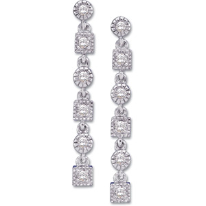 14k White Gold Art Deco Style .20cttw Diamond Drop Earrings