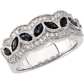 14k White Gold Art Deco Style .33 cttw Sapphire & Diamond Anniversary Band
