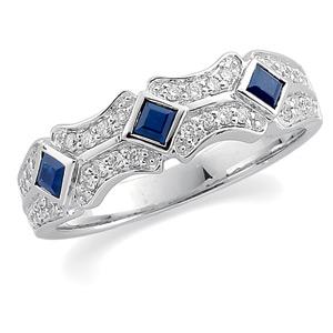 14k Gold Art Deco Style .33 cttw Sapphire & Diamond Anniversary Band