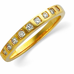 14k Yellow Gold Vintage Style .25cttw Diamond Wedding Band