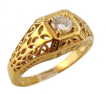 Art Deco Style Filigree 4.0mm Round Shaped Ring Setting