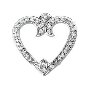 14k White Gold Vintage Style .25cttw Diamond Heart Slide Pendant