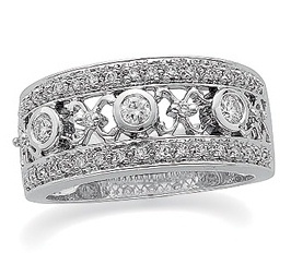 14k White Gold Vintage Style .37 cttw Diamond Anniversary Band