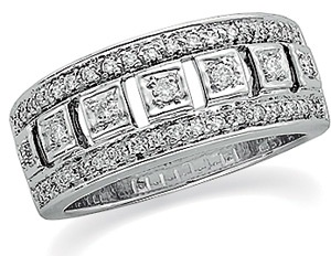 14k White Gold Vintage Style .33 cttw Diamond Anniversary Band