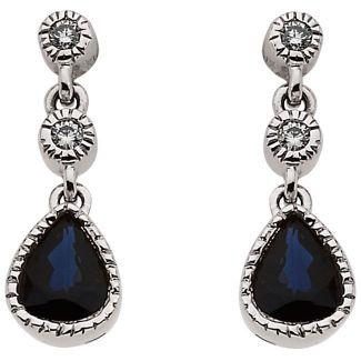 14k White Gold Art Deco Style .05cttw Diamond & Sapphire Drop Earrings