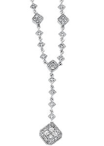 14k White Gold Art Deco Style .33cttw Diamond Drop Necklace