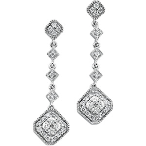 14k White Gold Art Deco Style .33cttw Diamond Drop Earrings