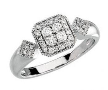 14k White Gold Art Deco Style .33cttw Pave' Diamond Ring