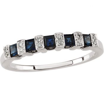 14k White Gold Art Deco Style .05 cttw Diamond & Sapphire Anniversary Band