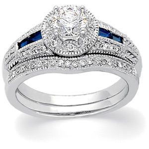 14k White Gold Art Deco Style .50 Carat Semi Mount Sapphire & Diamond Engagement Ring w/ .40 cttw of Accents